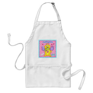 Cute Angel Dog with Wings on Pink Adult Apron