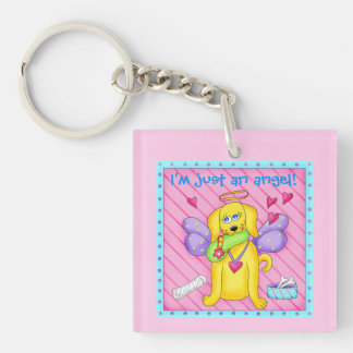 Cute Angel Dog with Wings on Pink Double-Sided Square Acrylic Keychain