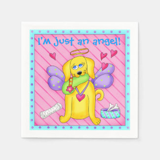 Cute Angel Dog with Wings on Pink Paper Napkin