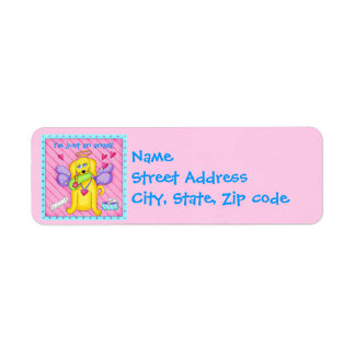 Cute Angel Dog with Wings on Pink Return Address Label