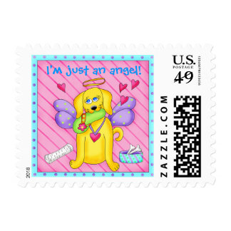 Cute Angel Dog with Wings on Pink Stamp