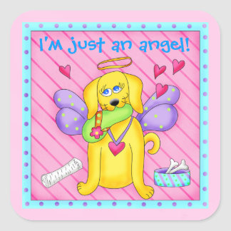 Cute Angel Dog with Wings on Pink Square Stickers