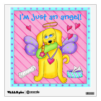 Cute Angel Dog with Wings on Pink Wall Graphic
