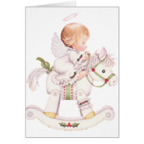 Cute Angel on a White Christmas Rocking Horse Card