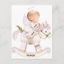 Cute Angel on a White Christmas Rocking Horse Holiday Postcard