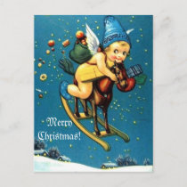 Cute Angel on Flying Rocking Horse Merry Christmas Holiday Postcard