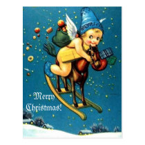 Cute Angel on Flying Rocking Horse Merry Christmas Postcard