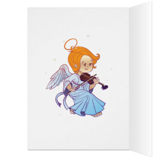 Cute angel playing violin card