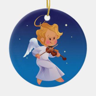 Cute angel playing violin ceramic ornament