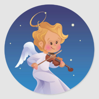 Cute angel playing violin classic round sticker