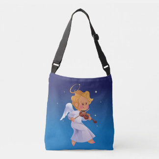Cute angel playing violin crossbody bag