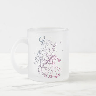 Cute angel playing violin frosted glass coffee mug