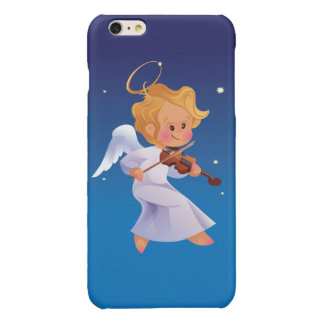Cute angel playing violin glossy iPhone 6 plus case