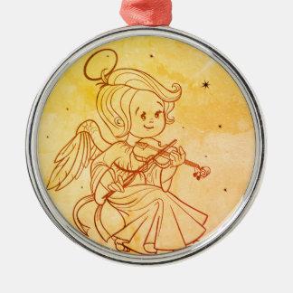 Cute angel playing violin metal ornament