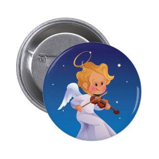 Cute angel playing violin pinback button