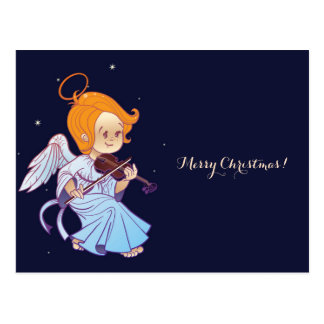 Cute angel playing violin postcard