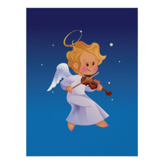 Cute angel playing violin poster