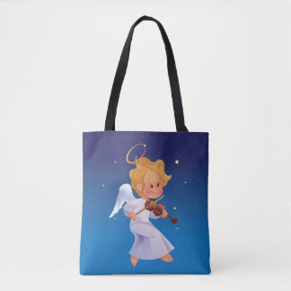 Cute angel playing violin tote bag