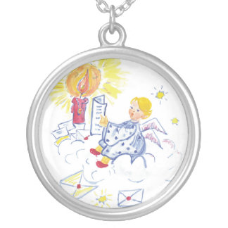 Cute angel sitting on a cloud reading mail round pendant necklace