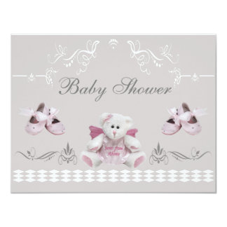 "Cute Angel Teddy & Ballet Shoes Baby Shower 4.25"" X 5.5"" Invitation Card"