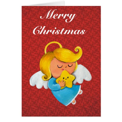 Cute Angel with Christmas Star Card