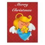 Cute Angel with Christmas Star Postcard