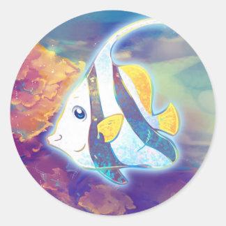 Cute Angelfish Classic Round Sticker