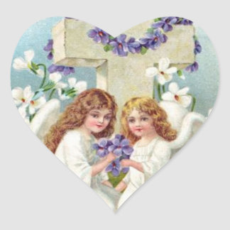 Cute Angels With Cross And Flowers. Heart Sticker