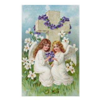 Cute Angels With Cross And Flowers. Poster