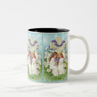 Cute Angels With Cross And Flowers. Two-Tone Coffee Mug