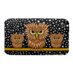cute angry hungry owls iPhone 3 case