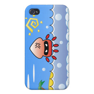 Cute Angry Jellyfish with Ocean, Island and Sun iPhone 4 Cases