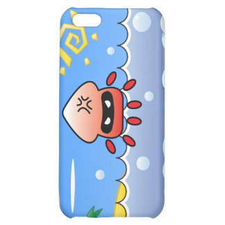Cute Angry Jellyfish with Ocean, Island and Sun Cover For iPhone 5C