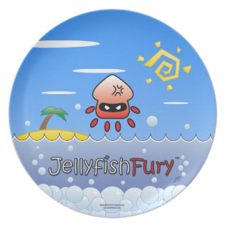 Cute Angry Jellyfish with Ocean, Island and Sun Plate