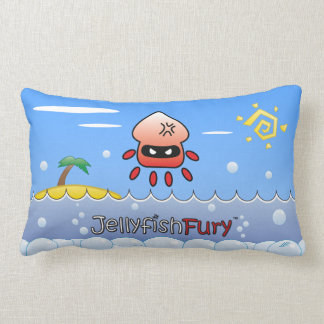 Cute Angry Jellyfish with Ocean, Island and Sun Throw Pillow