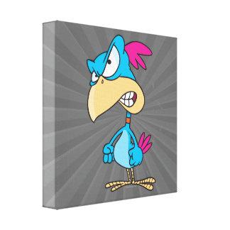 cute angry mean bird cartoon character canvas print