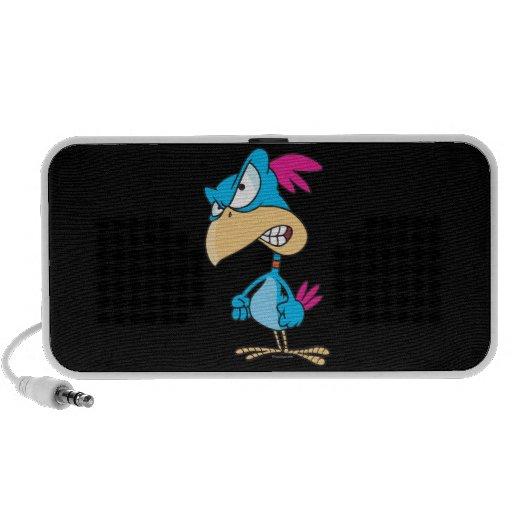 cute angry mean bird cartoon character travel speakers