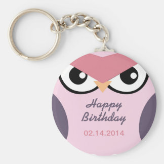 Cute Angry Owl Cartoon Happy Birthday Keychain