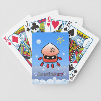 Cute Angry Red Jellyfish with Ocean and Sun Bicycle Playing Cards