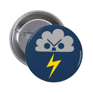 Cute Angry Storm Cloud with Lightning Bolt Pin