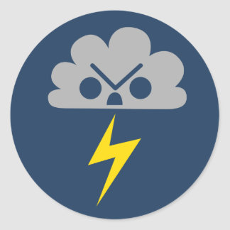 Cute Angry Storm Cloud with Lightning Bolt Classic Round Sticker