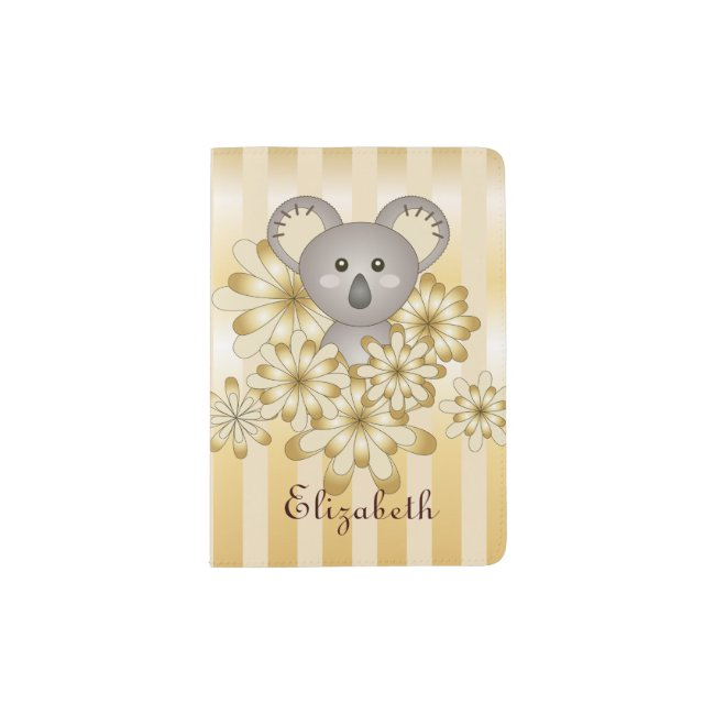Cute Animal Baby Koala Gold Effect Kids Name