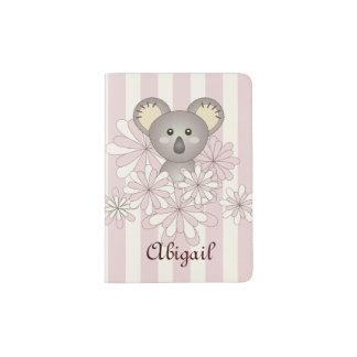 Cute Animal Baby Koala Pink Striped Kids Name Passport Holder