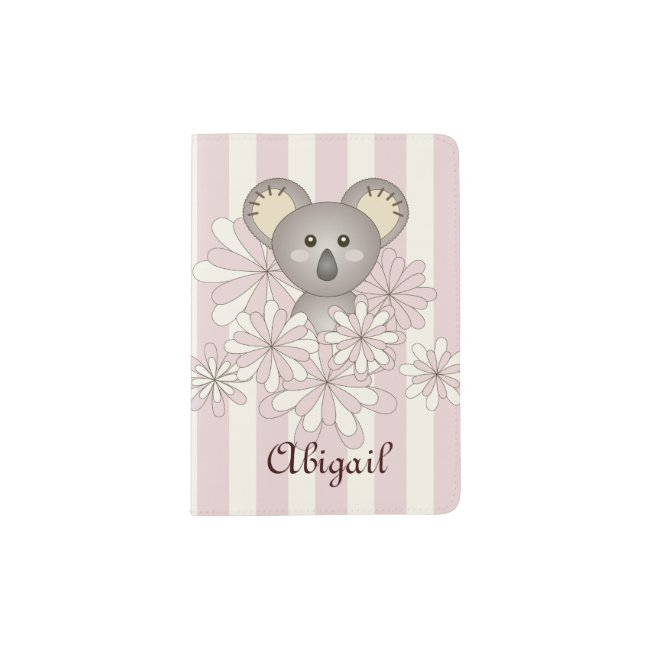 Cute Animal Baby Koala Pink Striped Kids Name