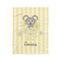 Cute Animal Baby Koala Yellow Striped Kids Name Fleece Blanket