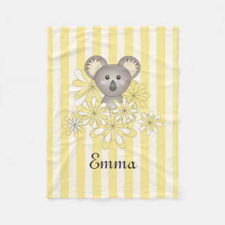 Cute Animal Baby Koala Yellow Striped Kids Name Fleece Blanket