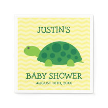 Cute animal baby shower napkins with green turtle