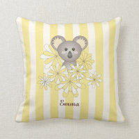 Cute Animal Cartoon Baby Koala Yellow Stripe Throw Pillow