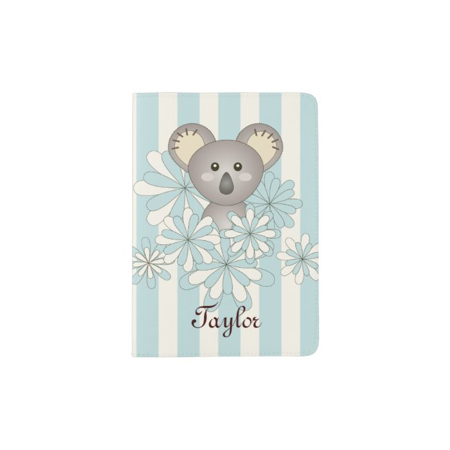 Cute Animal Cartoon Koala Kids Name Pastel Blue