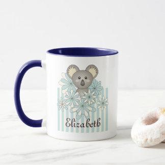 Cute Animal Cartoon Koala Pastel Blue Kids Name Mug